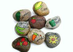pierres avec noms de légumes pour jardin potager