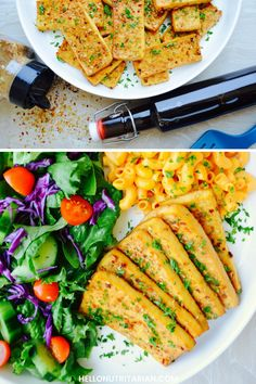 Easy Baked Tofu Recipe - only 3 ingredients, vegan, gluten-free, low-sodium.  The perfect answer to baked chicken when you're on Dr. Fuhrman's eat to live nutritarian program!  Served with garbanzo-bean-mac n' cheese and a huge fresh salad!