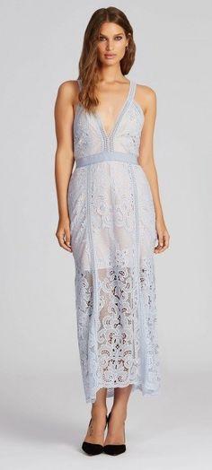 Powder Blue Wonderlust Maxi Lace Dress by Alice McCALL