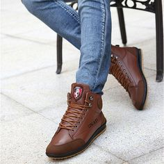 Men Casual High Top Sneakers Ankle Boots Lace Up Shoes - US$33.89