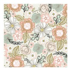 pretty flower pattern and spring color palette