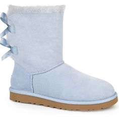 UGG Australia Women's Bailey Bow Horizon Blue Boots ($205) ❤ liked on Polyvore featuring shoes, boots, uggs, scarpe, ankle boots, blue, embellished boots, ugg australia boots, patent boots и patent leather boots