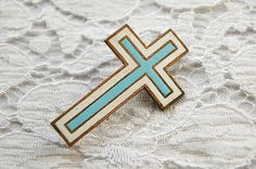 Vintage French cloisonne brooch cross brooch by LaCroixRosion