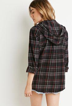 £15 Hooded Plaid Shirt - Tops - 2000155084 - Forever 21 UK