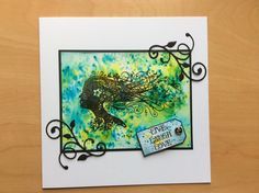 Card made with Brusho paint crystals.