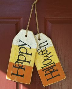 Over Sized Wooden Tags, Front Door Decor, Home Decor, Home Decor, Give Thanks Tags, Halloween signs, Halloween Signs by CreationsByLLove on Etsy https://www.etsy.com/listing/249434576/over-sized-wooden-tags-front-door-decor