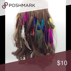 AVAILABLE 10/3 Colorful feathered head hand Gorgeous feathered head band sidekicks Accessories Hair Accessories
