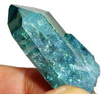 Aqua Aura Crystal Point - Reiki Chakra Color pagan wiccan witchcraft magick ritual supplies