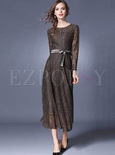 Shop for high quality Vintage O-neck Lace High Waist Maxi Dress online at  cheap b8d959d5c277