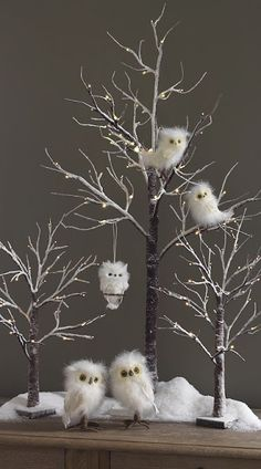 White Owls for decorating. This reminds me of claymation movie.