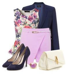 Lavender Skort & Navy Blazer by callmeadie on Polyvore featuring mode, Sisters Point, Paul Smith, Miss Selfridge, Kardashian Kollection, Charlotte Olympia and Ram