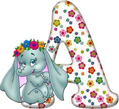 Flowered Alphabet with an Elephant. Alfabeto Disney, Illumination Art, Kids Homework, Birthday Letters, Flower Alphabet, Disney Coloring Pages, Alphabet And Numbers, Woodland Party, Baby Scrapbook