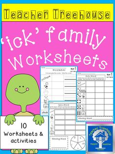 Ten different 'ick' family worksheets and simple activities to keep students engaged while learning. Great for morning work, centers, interventions, and homework!