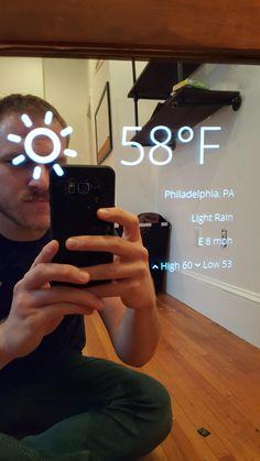 dat je heel de tijd het weer kan zien handig in de spiegel nu alleen nog in Celcius