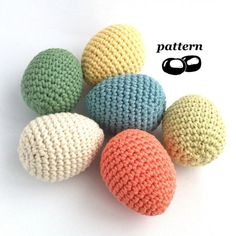 Crochet pattern for eggs suitable for beginners. These crocheted eggs are a great introduction to crocheting 3-D and amigurumi pieces. For realistic eggs around 5.5cm or 2¼ inches long choose double-knitting (DK, light worsted weight, Category 3) yarn and a 3.5mm (E-4) crochet hook. One