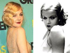 Drew Barrymore's Jean Harlow-inspired finger waves - hair