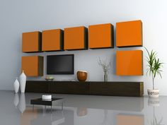 Contemporary Wall Unit 3D Design rendering