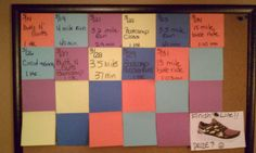 """This is my real life Fitness/Motivational board...........I am """"earning"""" my new Nike Free Runs.  Only 12 more workouts for my prize!"""