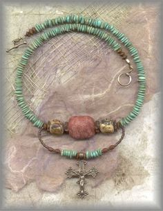 """"""" :: JCHOK.2410 - TURQUOISE/CORAL/GOLD FOILED BEADS - (18 in.)"""""""