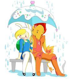 Fionna and flame prince under a umbrella