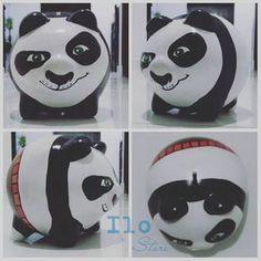 Panda Baby Piggy Banks, Po Kung Fu Panda, Pig Bank, Diy And Crafts, Crafts For Kids, Color Me Mine, Cute Piggies, Ceramic Painting, Sugar Skull
