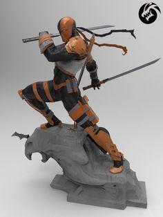 Deathstroke statue by 3D artist Stivens Trujillo Sanchez