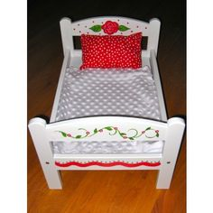 wooden doll beds | Artworks by Amy | Hand Painted Wooden Doll Bed