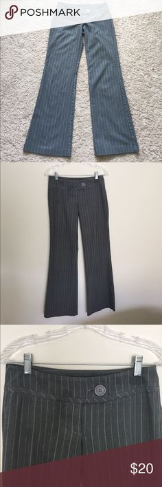 Guess work slacks, grey w white / blue pinstripes This is my absolute favorite pair of pants, sad to part with it, I quit smoking and now the weight just won't stay off, 24 waist, low rise. Super nice fit. Says dry clean but I have been washing and drying it, no problem, looks the same as when I bought, was really a surprise purchase, looking for someone size 24 to make it proud and give it love. Guess Pants