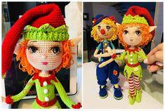 DIY Elfo amigurumi patròn gratis Crochet Doll Pattern, Crochet Dolls, Crochet Patterns, Crochet Hats, Amigurumi Doll, Amigurumi Patterns, Doll Patterns, Patron Crochet, Crochet For Beginners