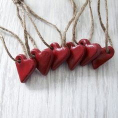 Red Hearts Ornaments Set, Rustic Red Hearts, Wedding favors, Cottage Chic, Guest Favors, Gift Tags, Tree Décor, Valentine