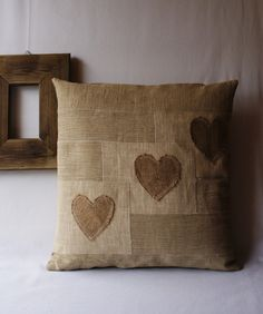 Valentine's Day Pillow Linen Pillow Three Hearts 16 x 16 inch. Made to order.