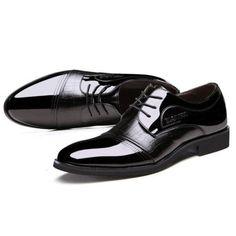 [US$50.11] Men Lace Up Artificial Leather Formal Shoes Soft Sole Business Shoes #lace #artificial #leather #formal #shoes #soft #sole #business