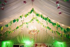 Hanging Floral Decor and Greenery Whimsical, Hanging Wedding Decor at Garden Wedding Reception | Mid-Summer