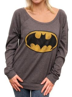 Cute Scoop Neck Batman Print Pullover Sweatshirt For Women
