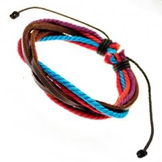 Multicolored Conjoined Straps Leather Bracelet