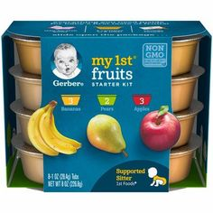 Gerber My Fruits Baby Food Starter Kit, 1 oz Tubs, 8 Count (Case of Baby Food Recipes, Gourmet Recipes, Healthy Recipes, Peach Syrup, Getting Hungry, Baby Supplies, Easy Cooking, Clean Eating Snacks, Starter Kit
