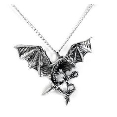 Dragon with Sword Sterling Silver Pendant Necklace