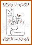 Primitive Cat Embroidery