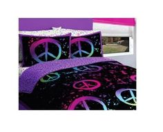 Peace Comforter Set Bedding Twin Girls Bed in a Bag Black Purple Pink Sign  #LatitudePeace