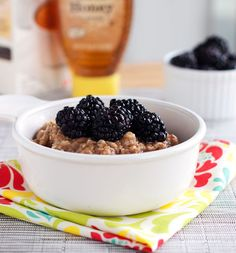 These blackberries and cream oats are topped with honey and fresh blackberries and made with simple ingredients. Oatmeal at its best! | pinchofyum.com // Card Made