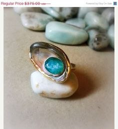 Organic Style Ring  emerald Ring  shell Sterling by EfratShifrin