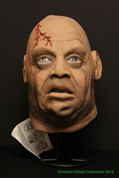 Original 1977 Tor Johnson mask by Don Post Studios with original care tag -The Crimson Ghost Mask Room 2015