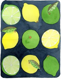 Lemons and Limes watercolor by Emily Proud