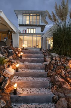 torch lit stairs