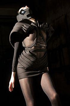 Avant-Garde, Futuristic Clothing, Girl in Black, Dark Fashion