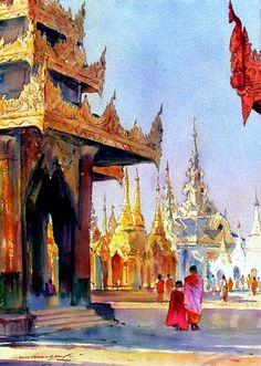 """缅甸 Myoe Win Aung 的建筑风景水彩画 - 韵湖佳境 - """"韵湖佳境""""欢迎您"""