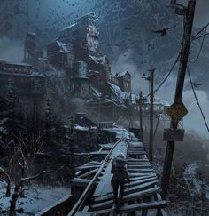 View an image titled 'Russian Hub Art' in our Rise of the Tomb Raider art gallery featuring official character designs, concept art, and promo pictures. Landscape Concept, Fantasy Landscape, Environment Concept Art, Environment Design, Post Apocalypse, Apocalypse Survival, Dark Fantasy, Fantasy Art, Post Apocalyptic Art