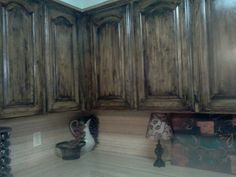 Rustic cabinets. Wash cabinets with ebony gel stain and poly combo!