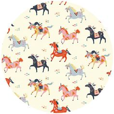 """Miriam Bos for Birch Organic Fabrics, Wildland, Wild Horses  Fabric is sold by the 1/2 Yard. For example, if you would like to purchase 1 Yard, you would enter 2 in the Qty. box at Checkout. Yardage is cut in one continuous piece.  Examples:  1/2 yard = 1 1 yard = 2 1 1/2 yards = 3 2 yards = 4  1/2 Yard Measures 18"""" x 44/45""""   Fiber Content: 100% Organic Cotton  Hover over image for a larger, better view."""