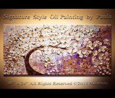 ORIGINAL Painting Contemporary White Bloom Oil Painting Heavy Palette Knife Texture by Paula Nizamas via Etsy